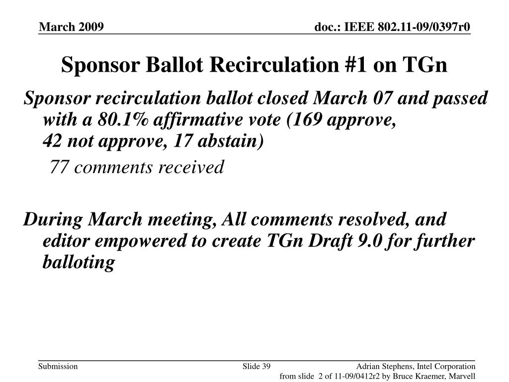 Sponsor Ballot Recirculation #1 on TGn