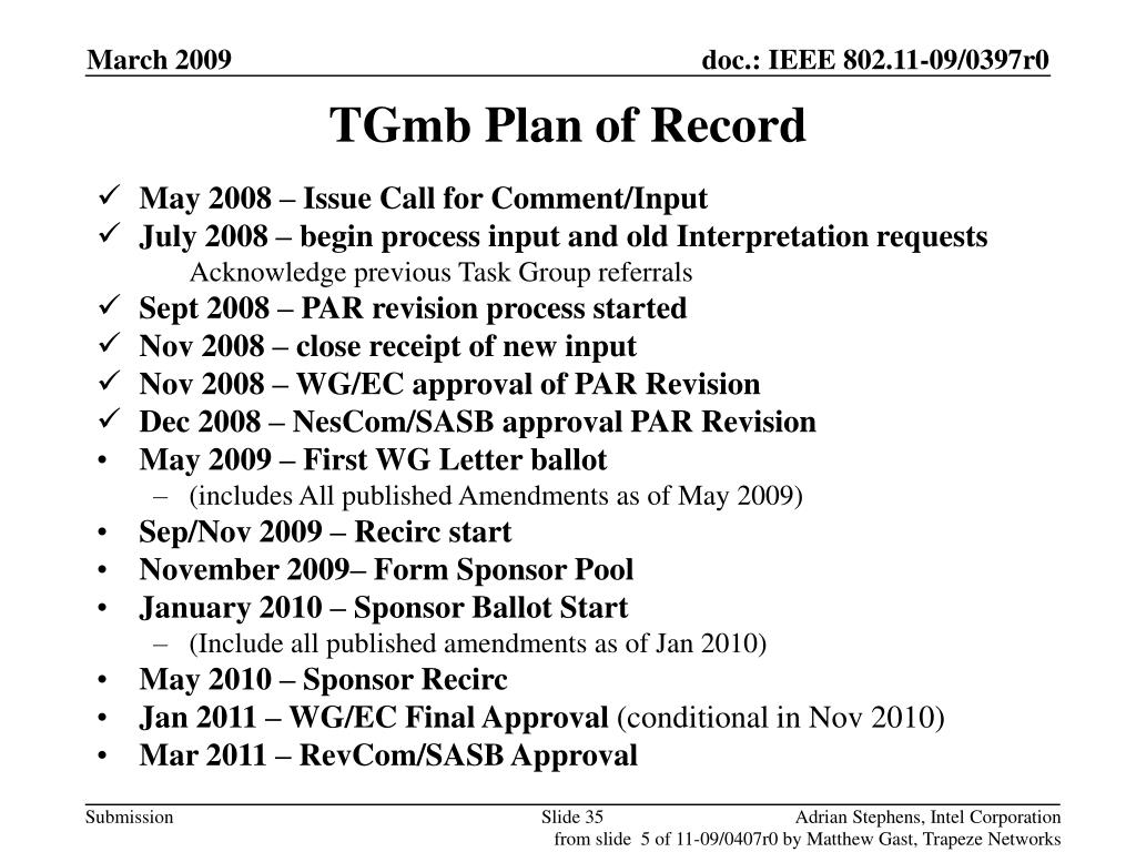 TGmb Plan of Record