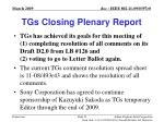 tgs closing plenary report
