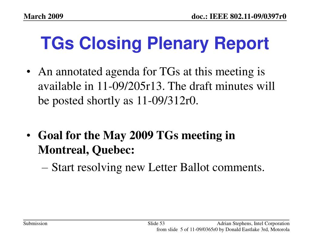 TGs Closing Plenary Report