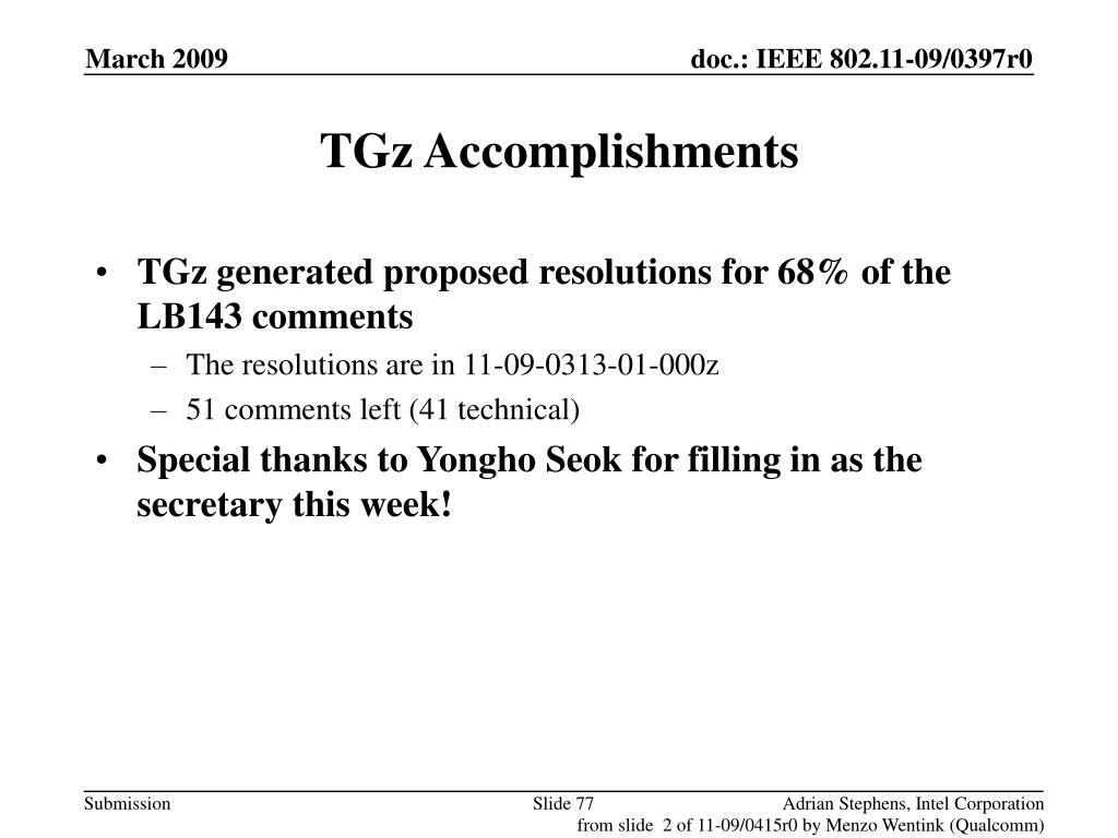 TGz Accomplishments