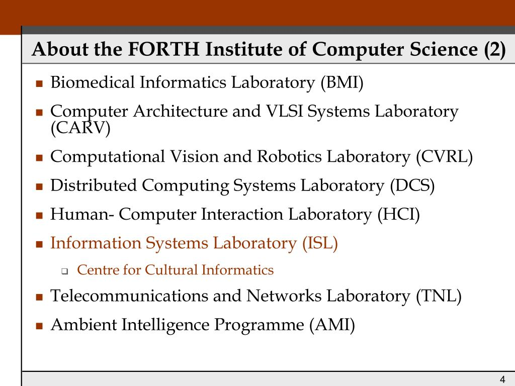 About the FORTH Institute of Computer Science (2)