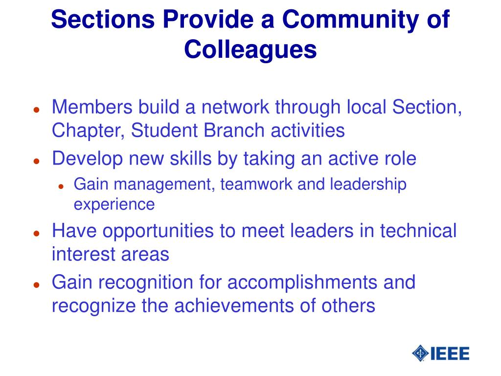 Sections Provide a Community of Colleagues