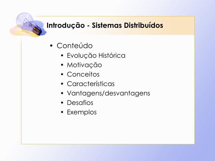 Introdução - Sistemas Distribuídos