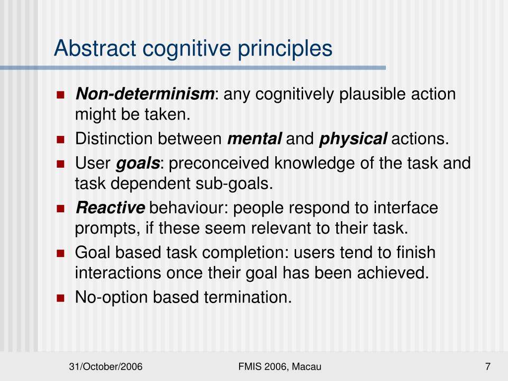 Abstract cognitive principles
