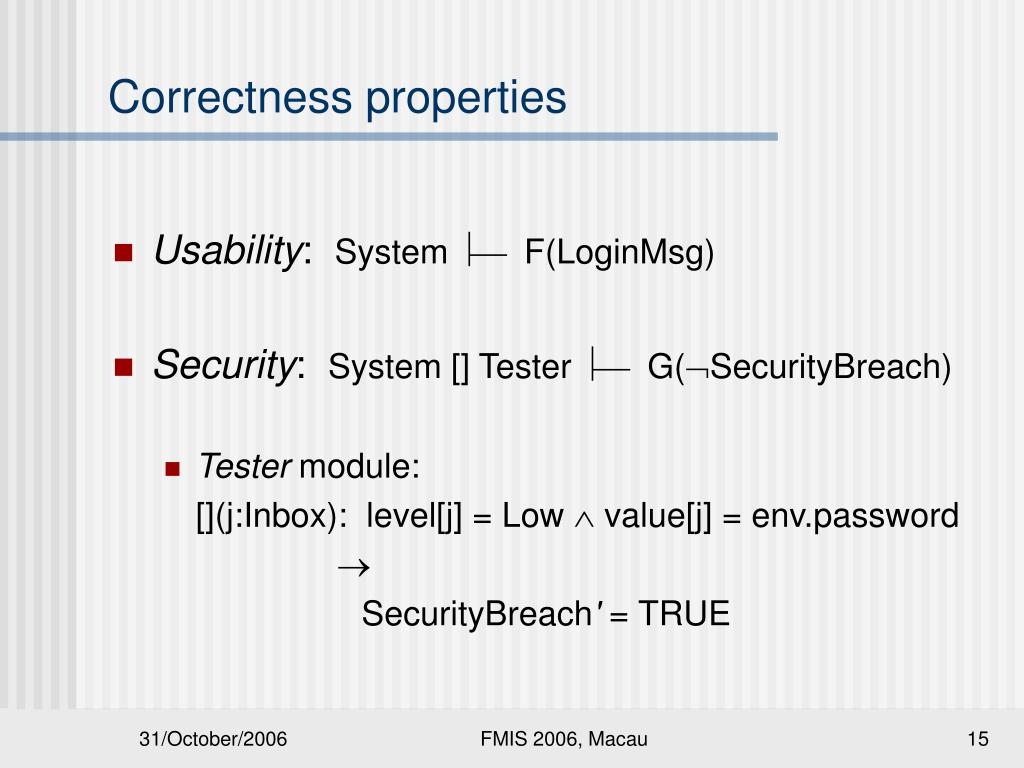 Correctness properties