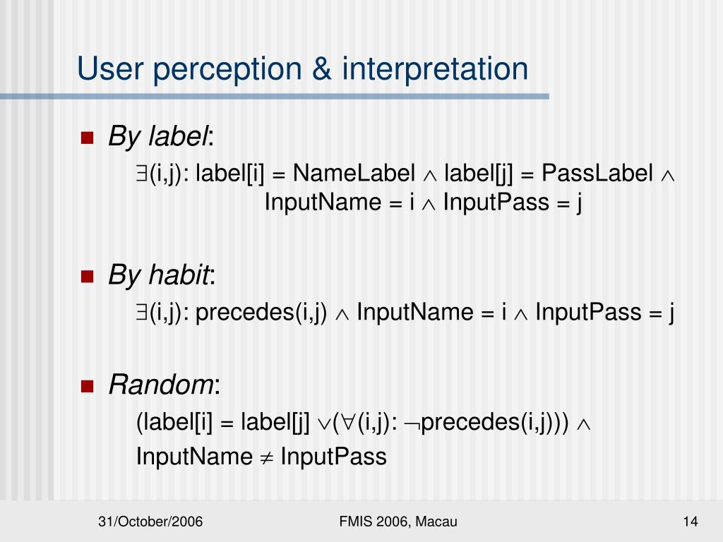 User perception & interpretation