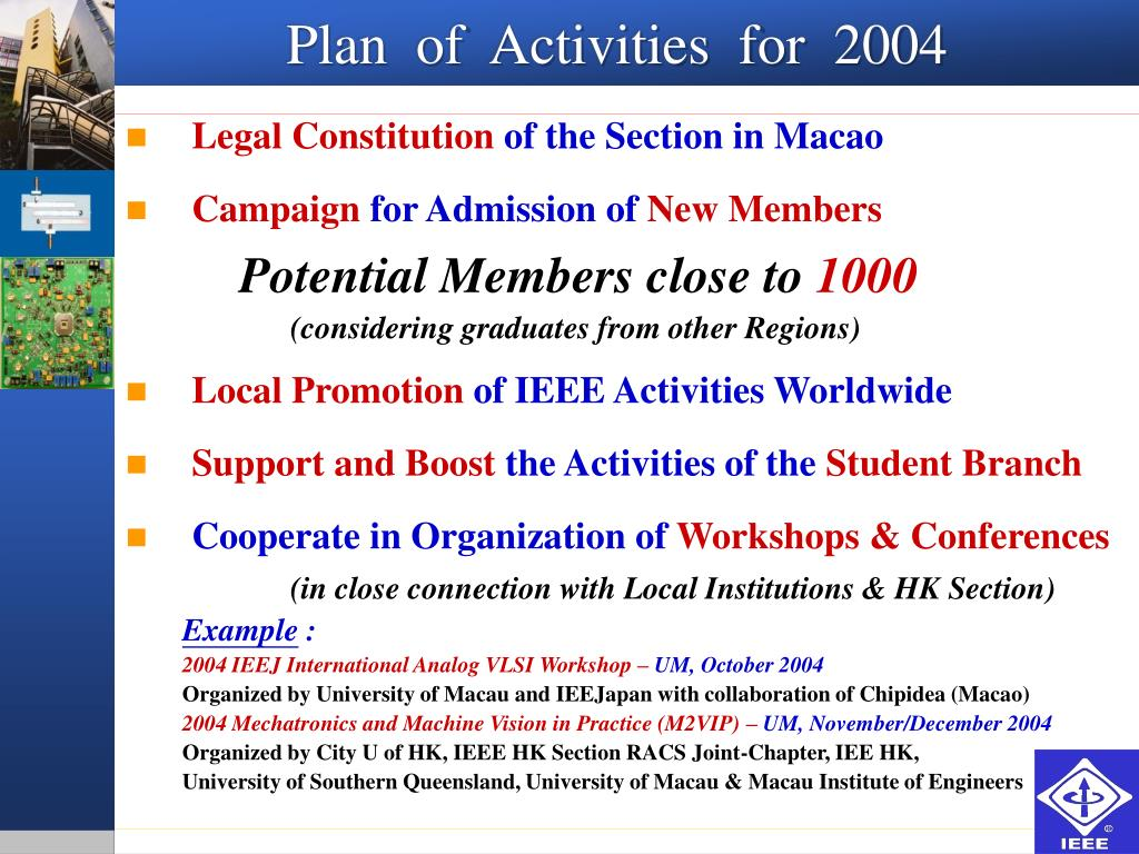 Plan  of  Activities  for  2004