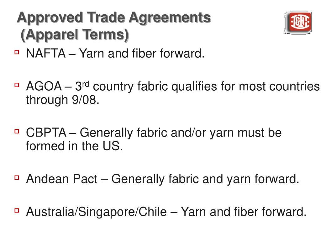 Approved Trade Agreements