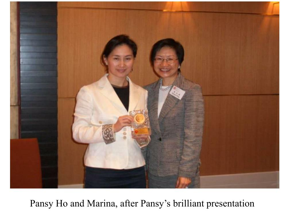 Pansy Ho and Marina, after Pansy's brilliant presentation