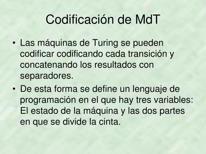 Codificación de MdT