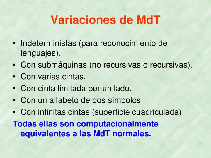 Variaciones de MdT