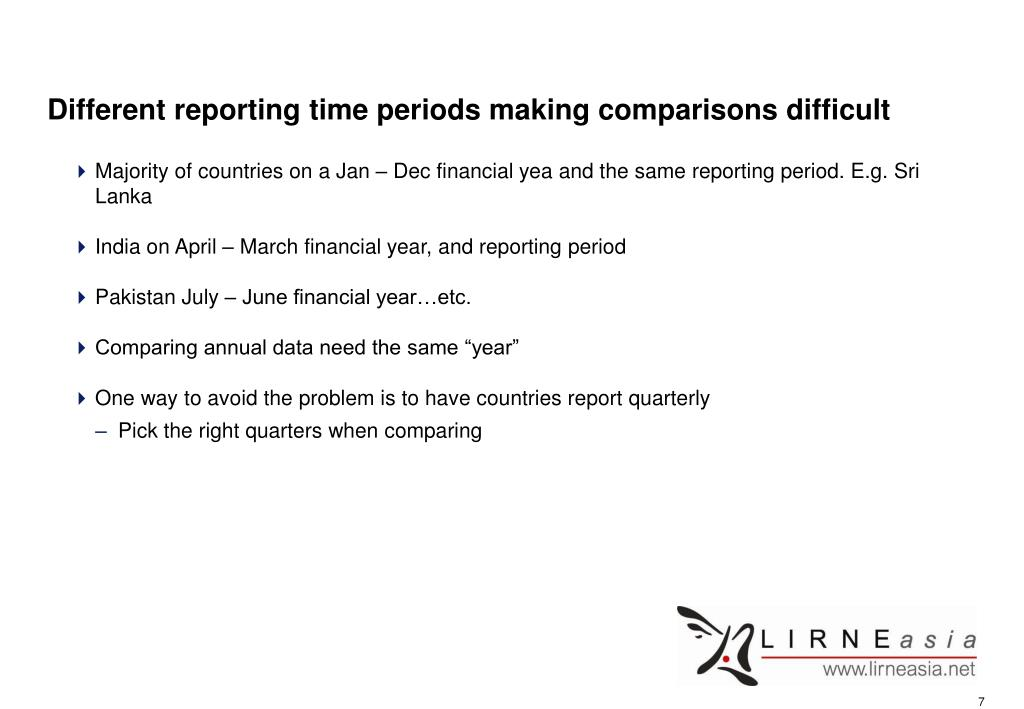 Different reporting time periods making comparisons difficult