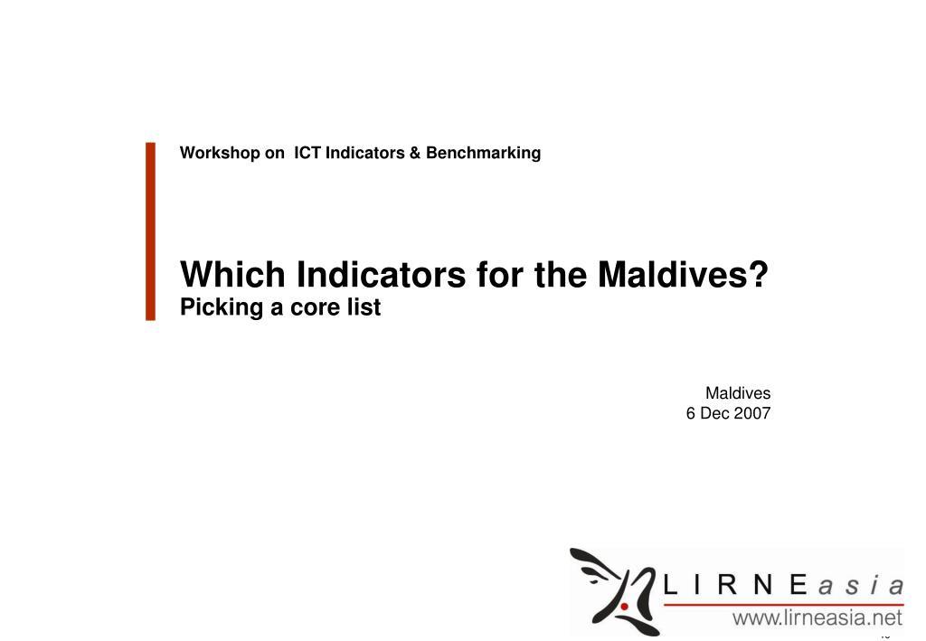 Workshop on  ICT Indicators & Benchmarking