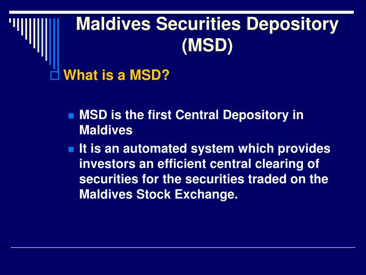 Maldives securities depository msd