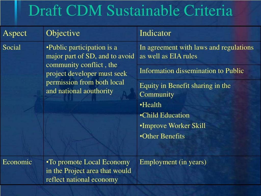 Draft CDM Sustainable Criteria