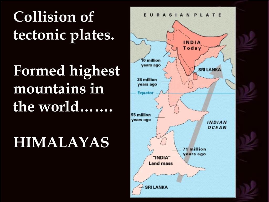 Collision of tectonic plates.