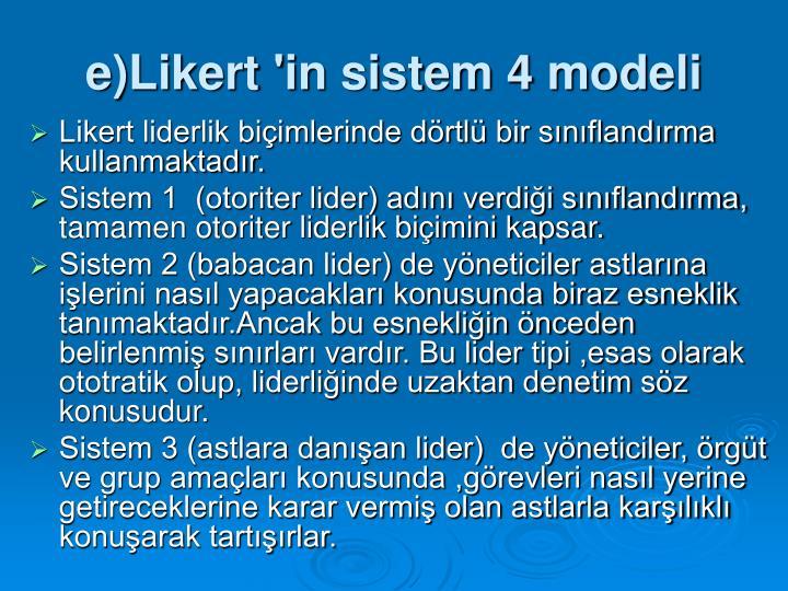 e)Likert 'in sistem 4 modeli