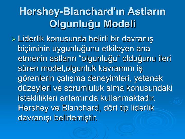 Hershey-Blanchard'ın Astların Olgunluğu Modeli