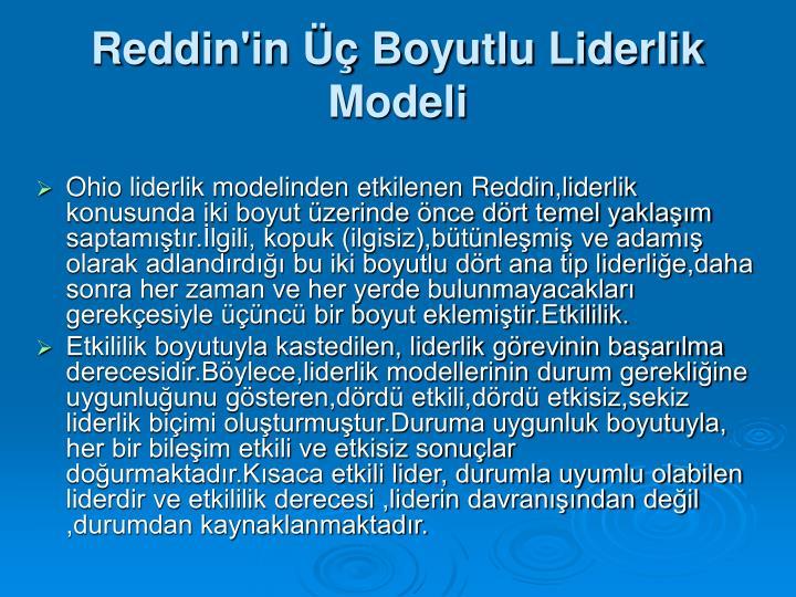 Reddin'in Üç Boyutlu Liderlik Modeli