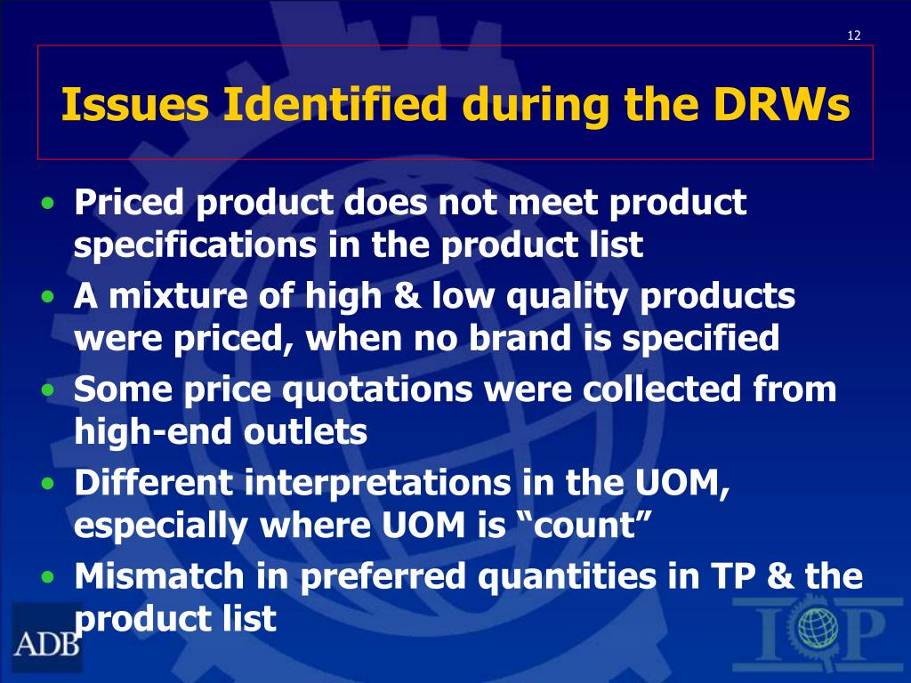 Issues Identified during the DRWs