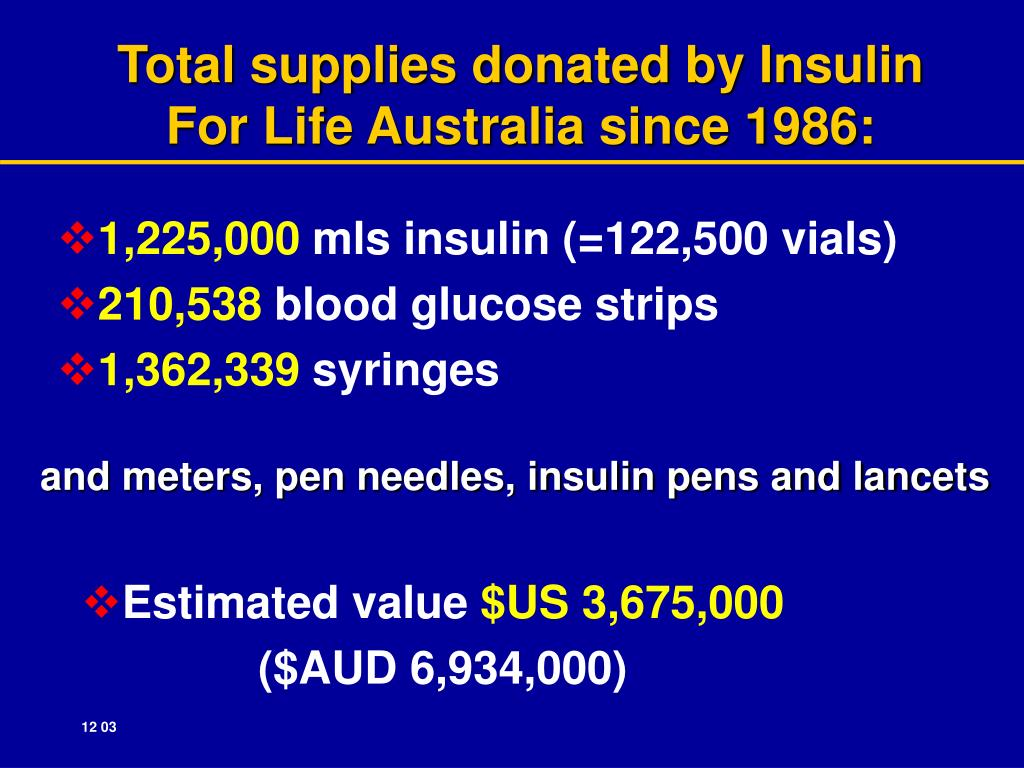 Total supplies donated by Insulin                                      For Life Australia since 1986: