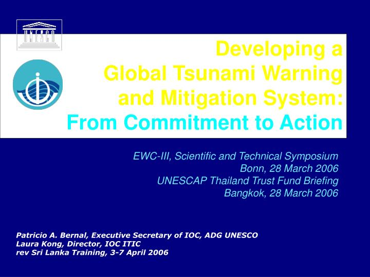 Developing a global tsunami warning and mitigation system from commitment to action