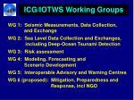 icg iotws working groups