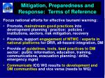 mitigation preparedness and response terms of reference