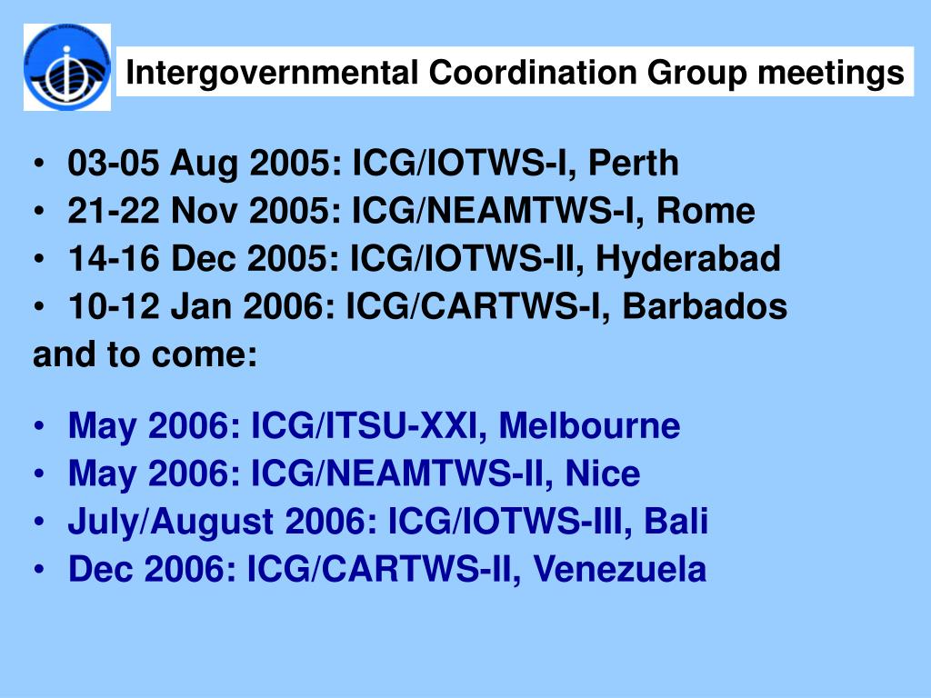 Intergovernmental Coordination Group meetings