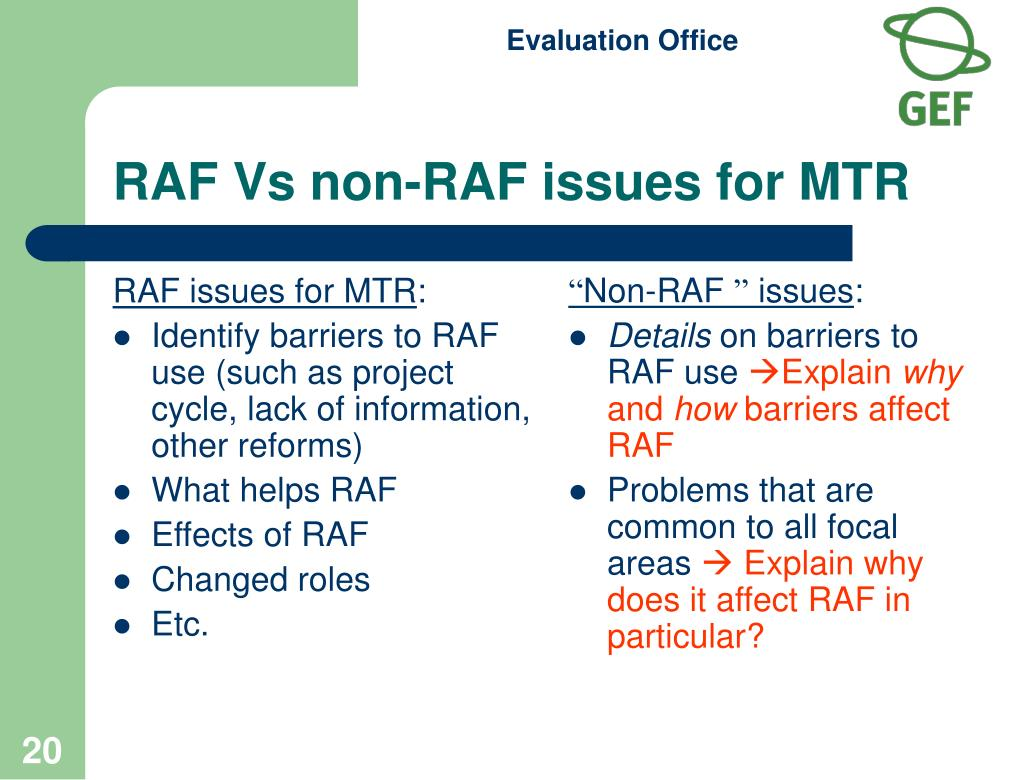 RAF issues for MTR