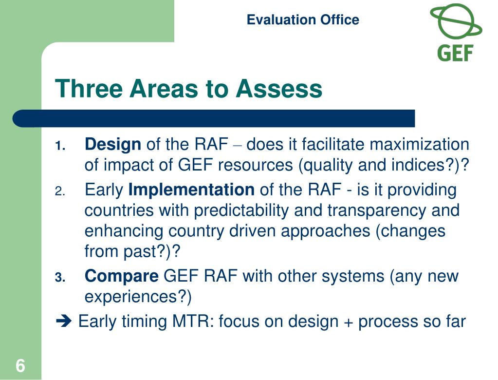 Three Areas to Assess