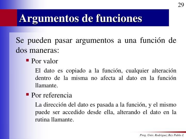 Argumentos de funciones