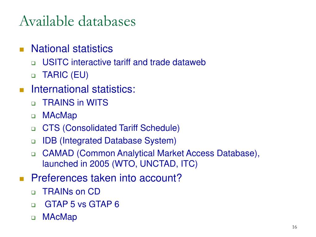 Available databases