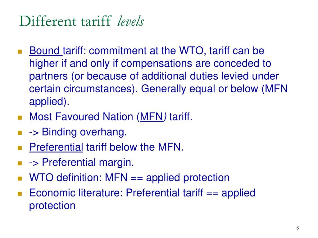 Different tariff