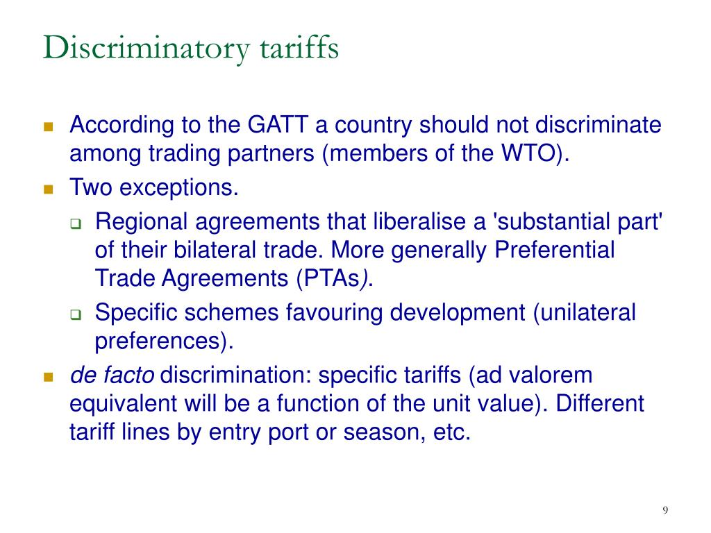 Discriminatory tariffs