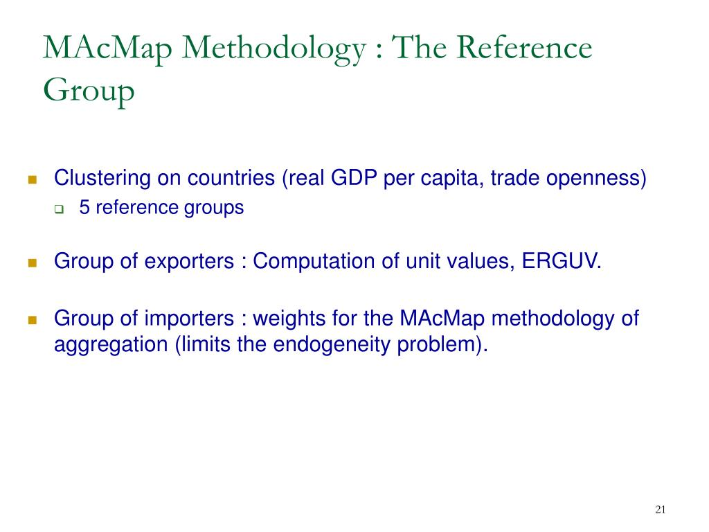 MAcMap Methodology : The Reference Group