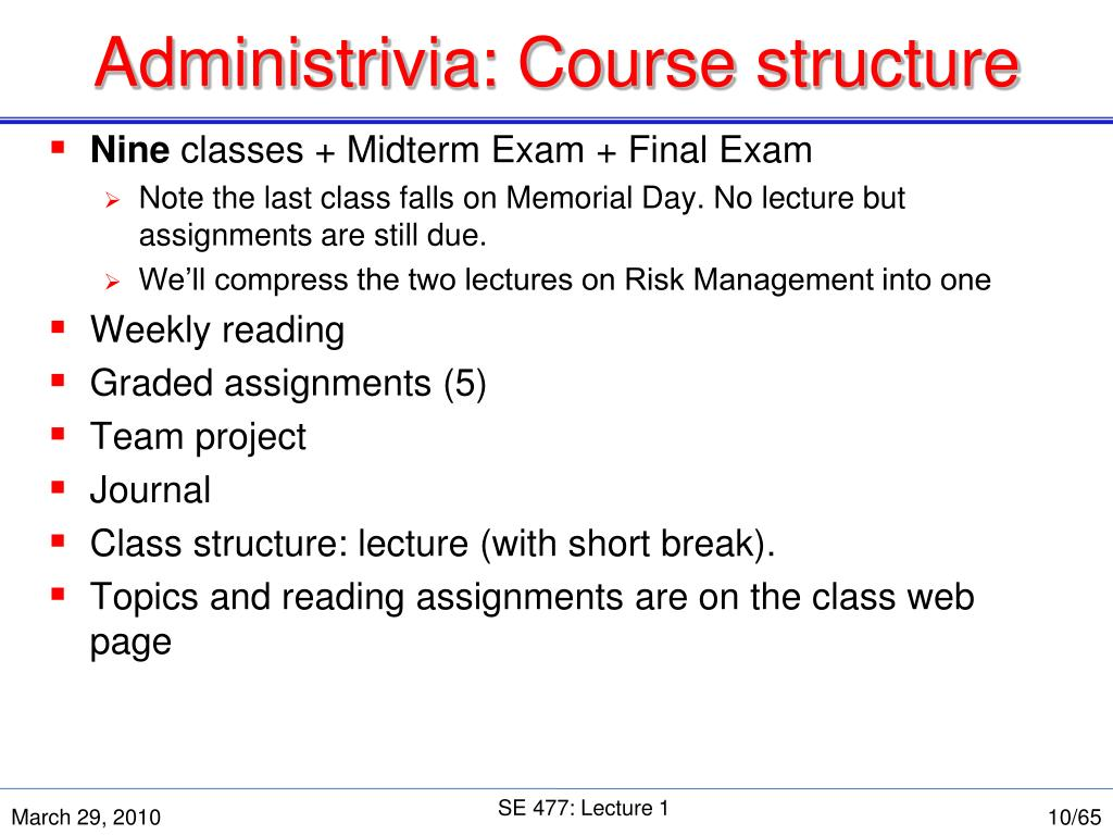 Administrivia: Course structure