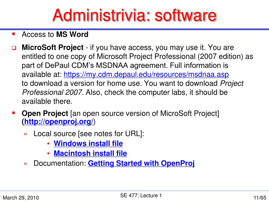 Administrivia: software