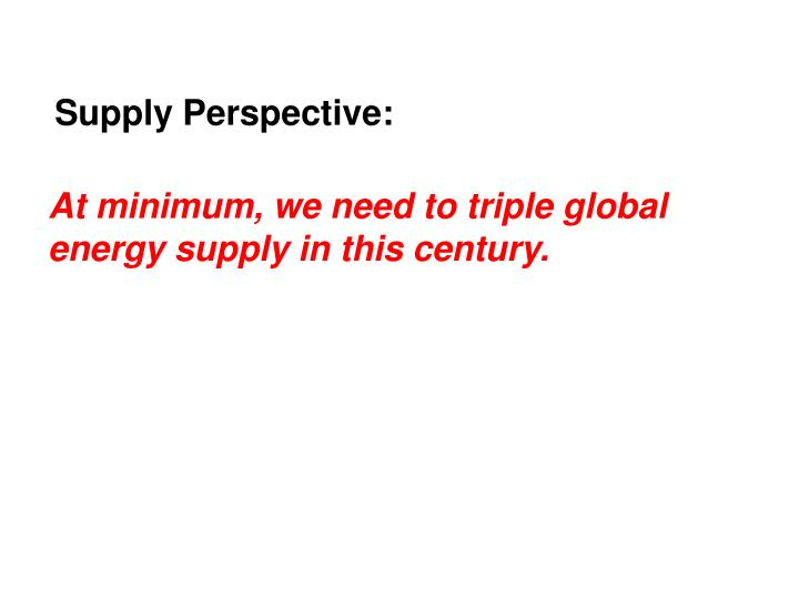 Supply Perspective:
