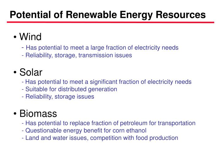 Potential of Renewable Energy Resources