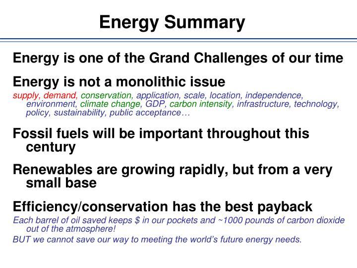 Energy Summary