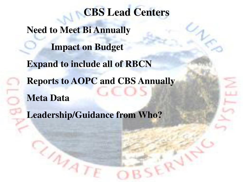 CBS Lead Centers