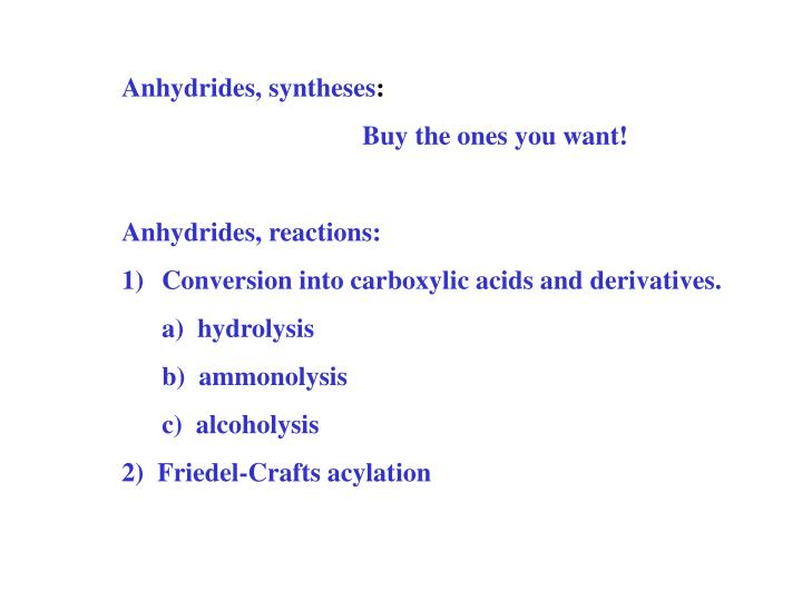 Anhydrides, syntheses