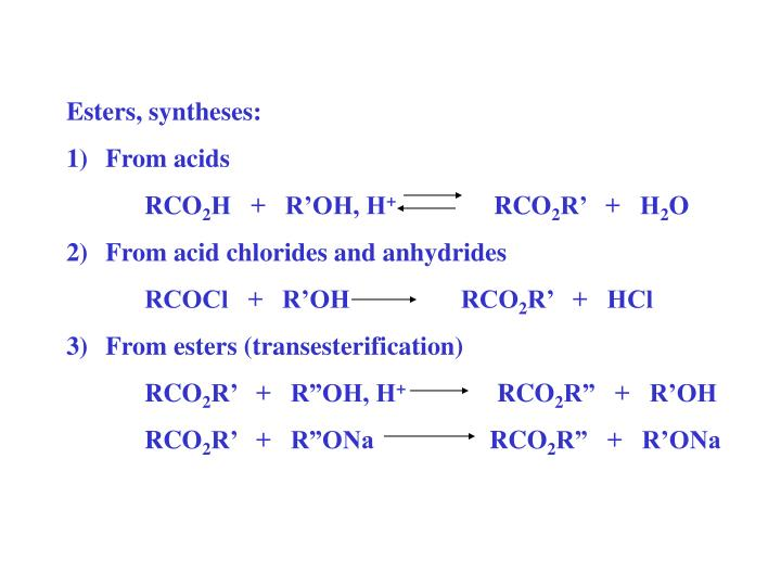 Esters, syntheses: