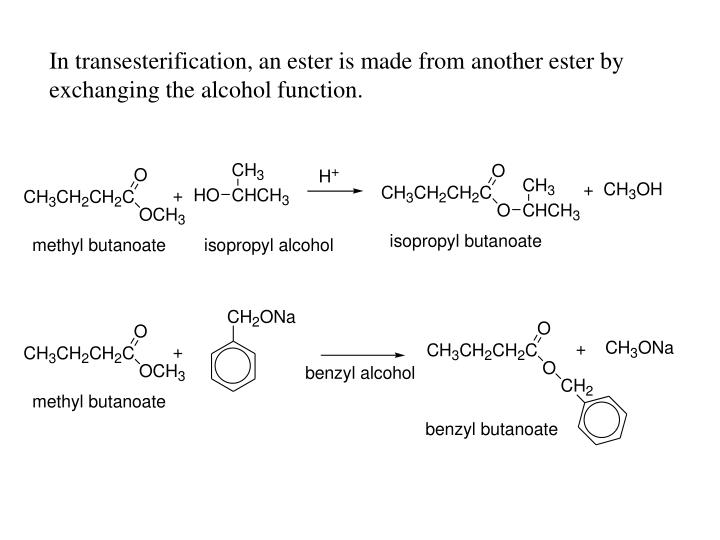 In transesterification, an ester is made from another ester by exchanging the alcohol function.