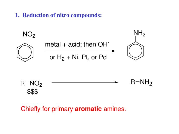 1.  Reduction of nitro compounds: