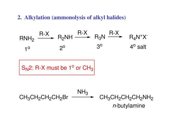 2.  Alkylation (ammonolysis of alkyl halides)