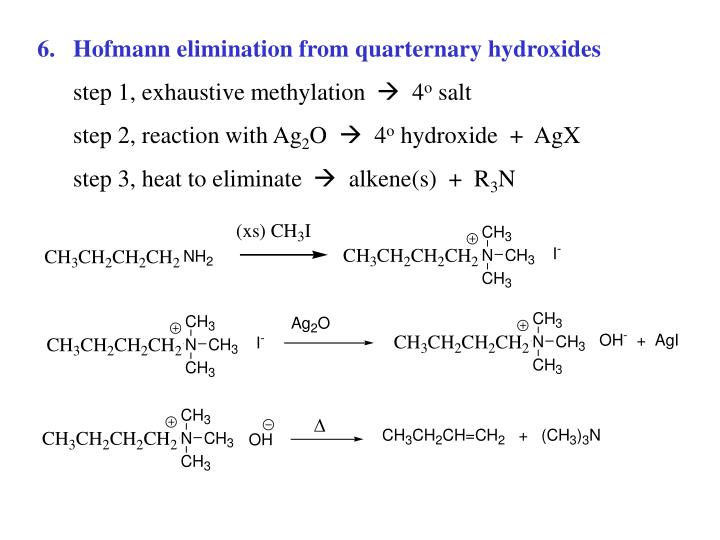 Hofmann elimination from quarternary hydroxides