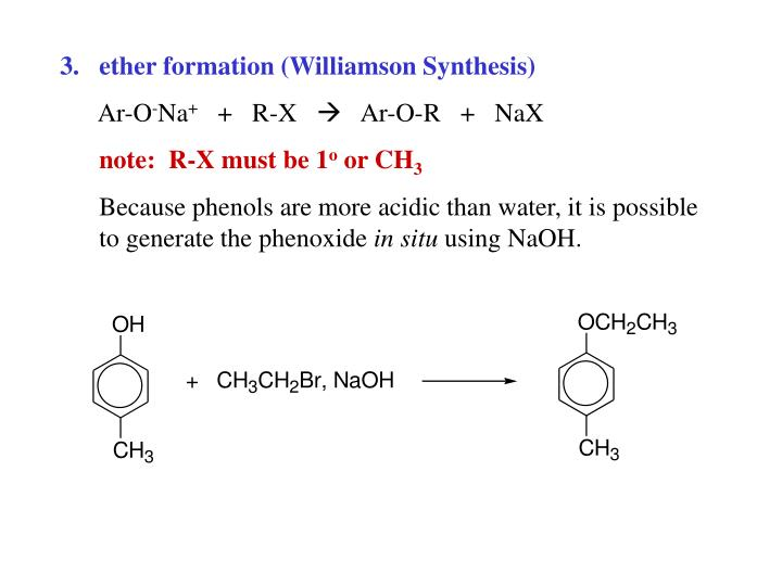 ether formation (Williamson Synthesis)